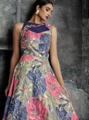 Multi Colour Print Designer Gown