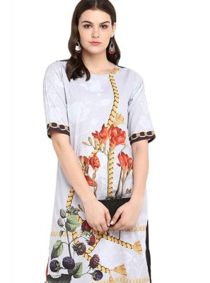 Multi Colour Print Faux Crepe Party Wear Kurti