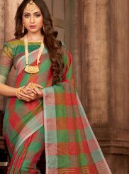 Multi Colour Print Linen Classic Saree