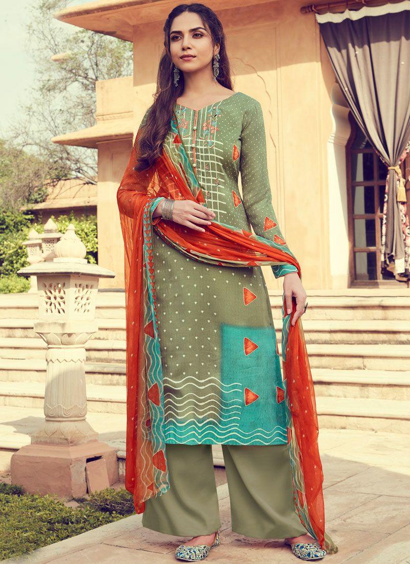 Multi Colour Print Pashmina Designer Palazzo Suit