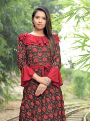 Multi Colour Print Rayon Party Wear Kurti