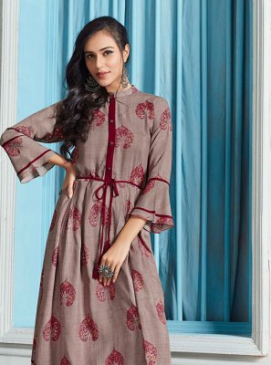 Multi Colour Print Rayon Party Wear Kurti