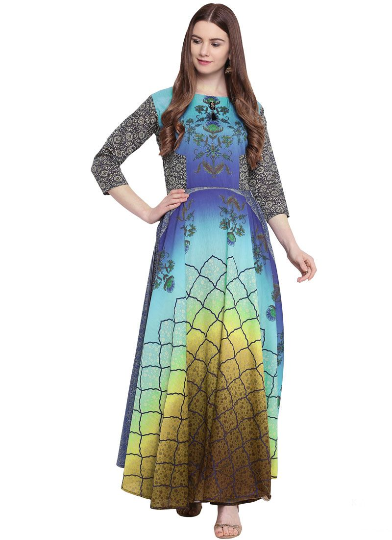 Multi Colour Print Readymade Trendy Gown
