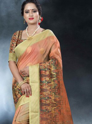 Multi Colour Printed Art Banarasi Silk Classic Designer Saree