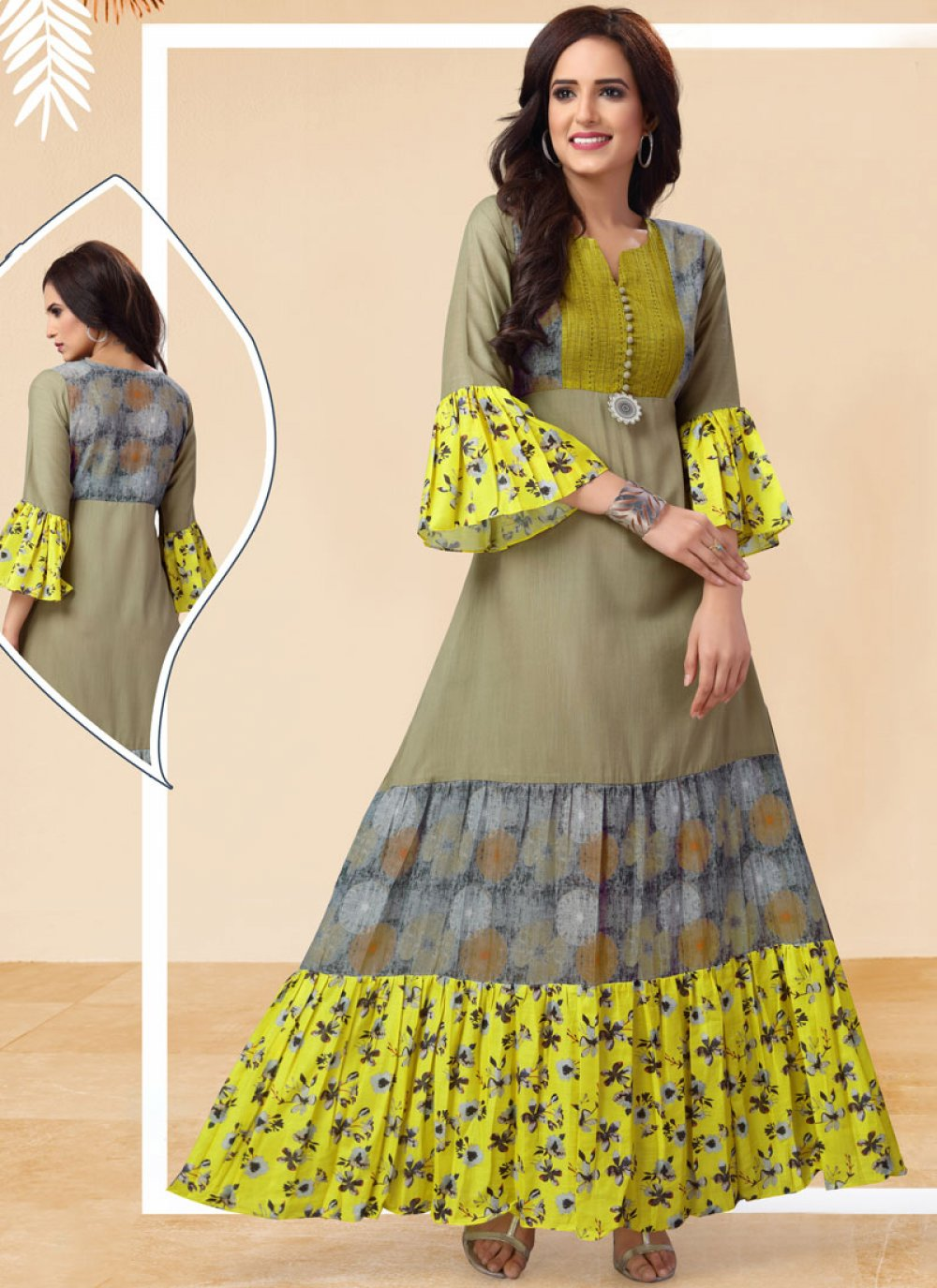 Multi Colour Printed Art Silk Casual Kurti