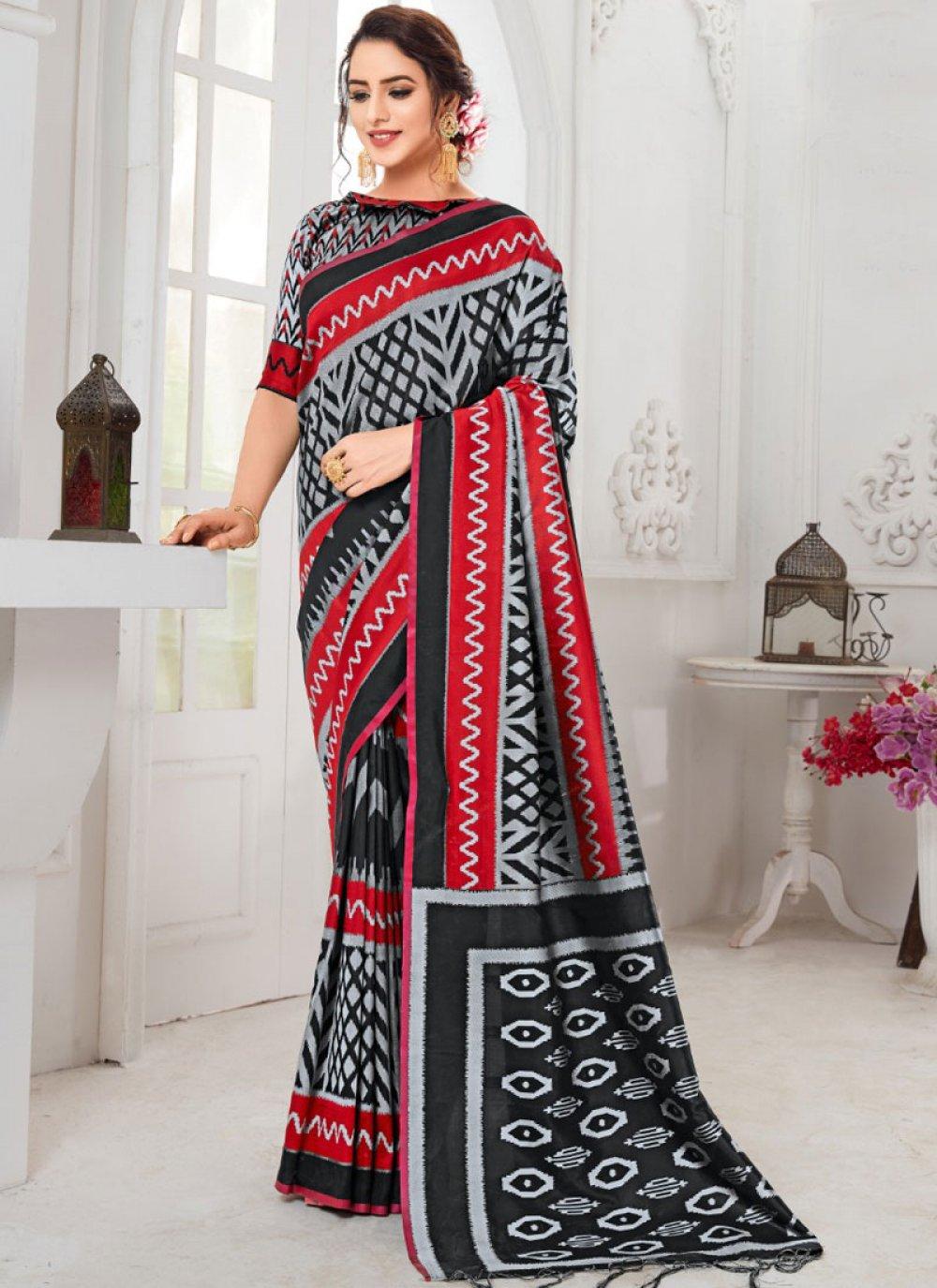 Multi Colour Printed Art Silk Designer Traditional Saree