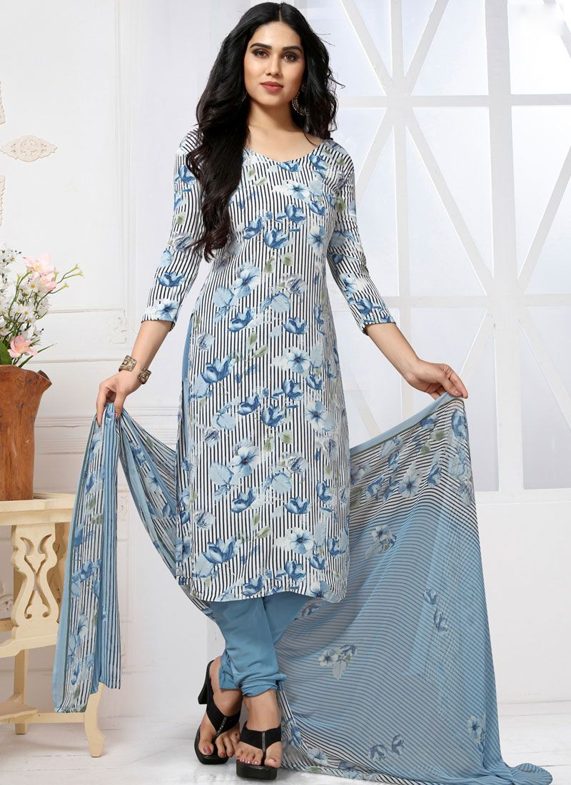 Multi Colour Printed Churidar Designer Suit