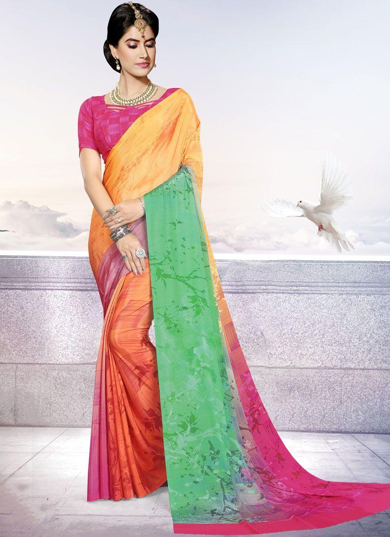 Multi Colour Printed Crepe Silk Trendy Saree