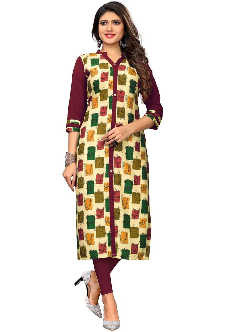 Multi Colour Printed Faux Crepe Casual Kurti