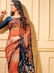 Multi Colour Printed Faux Crepe Trendy Saree