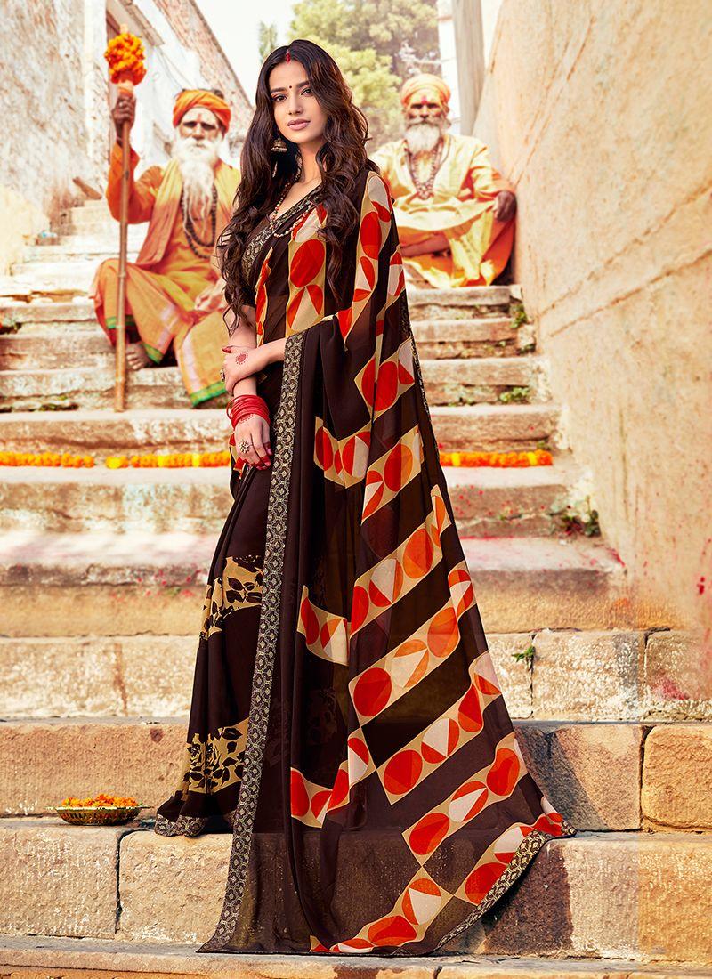 Multi Colour Printed Georgette Trendy Saree