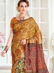 Multi Colour Printed Linen Casual Saree