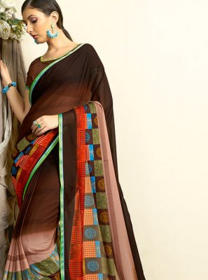 Multi Colour Printed Mehndi Casual Saree