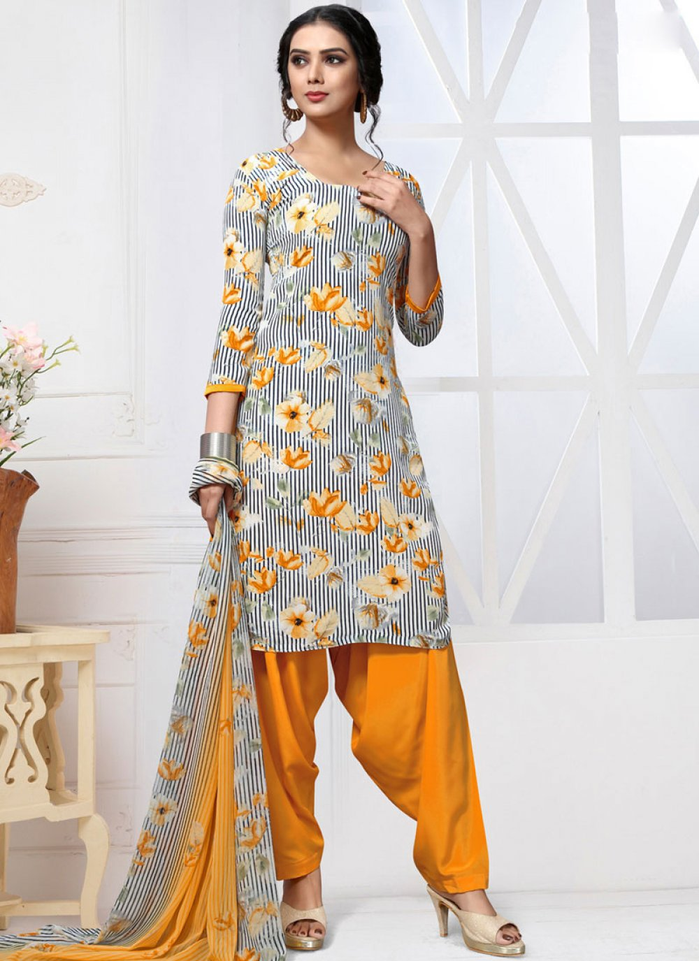 Multi Colour Printed Patiala Salwar Kameez