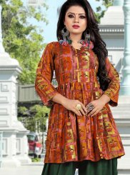 Multi Colour Printed Rayon Designer Kurti