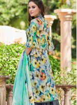 Multi Colour Printed Satin Designer Salwar Kameez