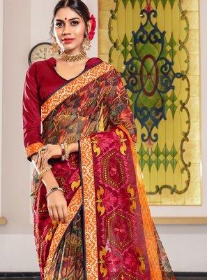 Multi Colour Printed Super Net Designer Traditional Saree