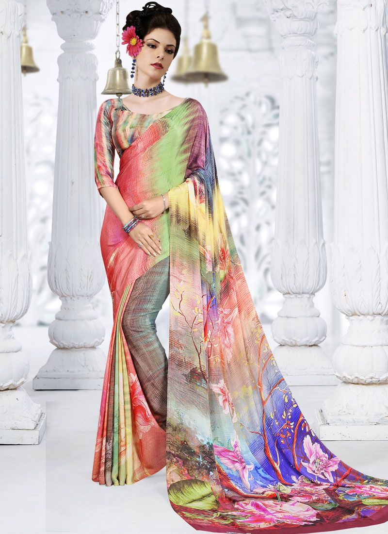 Multi Colour Printed Trendy Saree