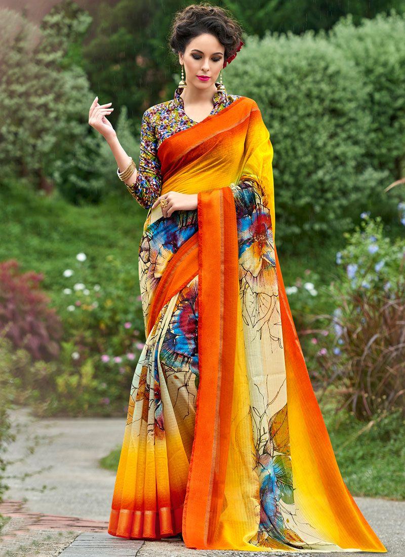 Multi Colour Printed Work Work Silk Casual Saree