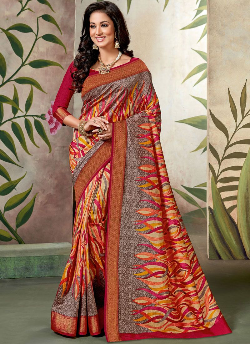 Multi Colour Raw Silk Festival Traditional Saree