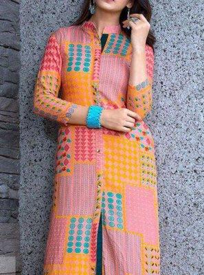 Multi Colour Rayon Party Wear Kurti