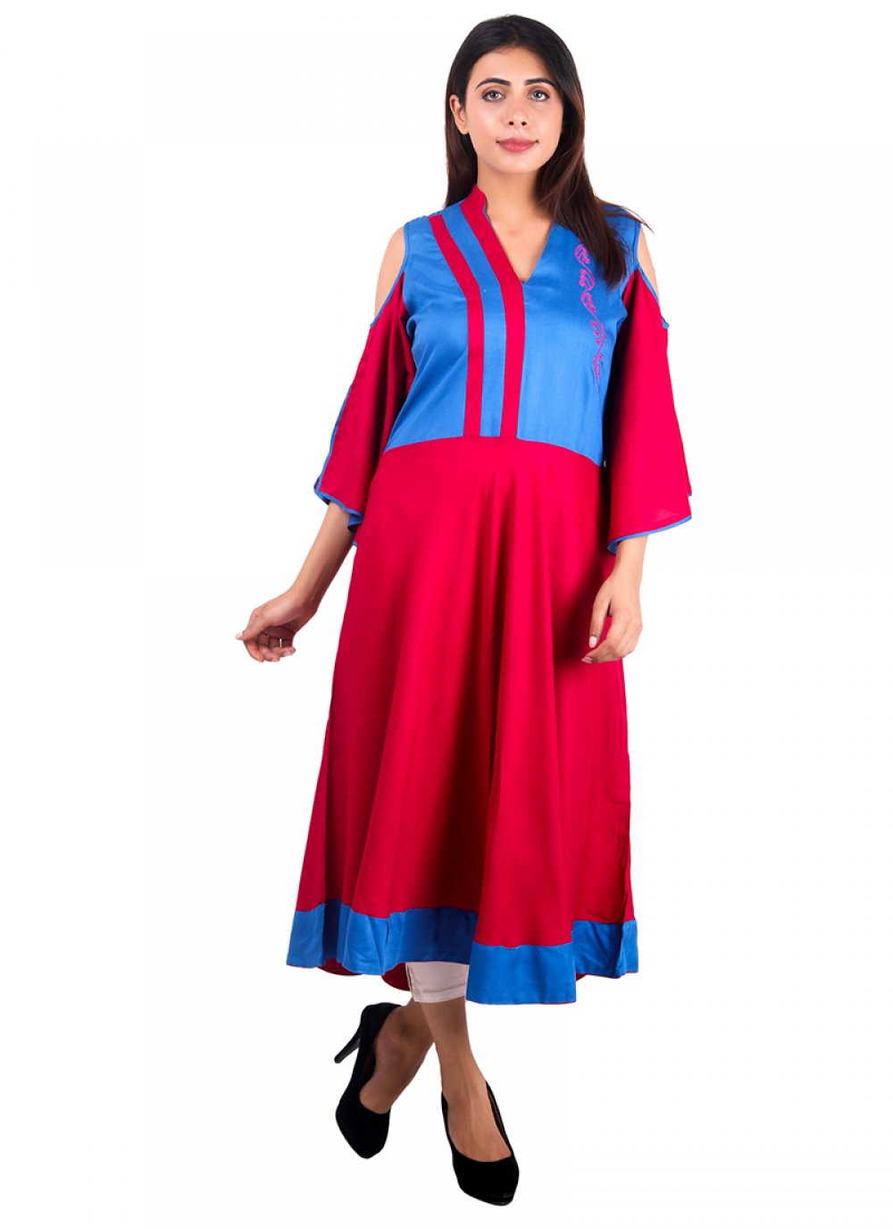 Multi Colour Rayon Plain Casual Kurti