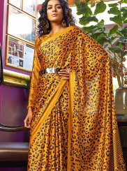 Multi Colour Satin Printed Saree