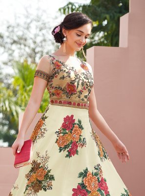 Multi Colour Satin Silk Designer Gown