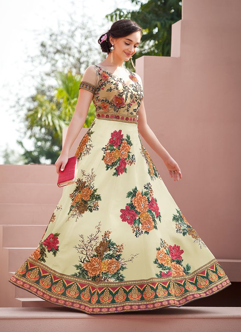 Multi Colour Satin Silk Designer Gown
