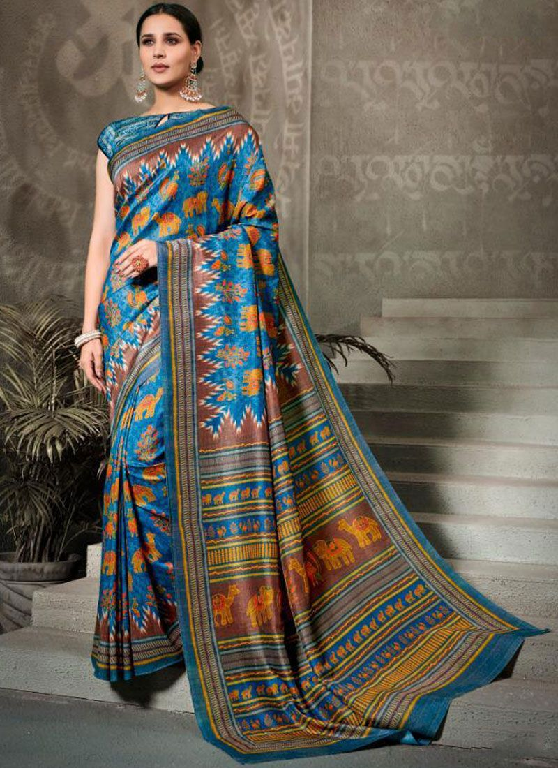 Multi Colour Tussar Silk Silk Saree