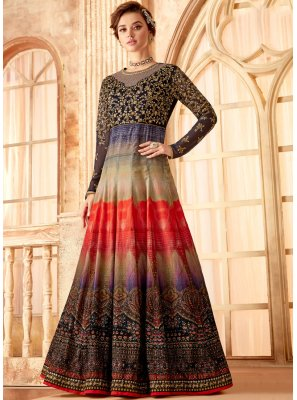Multi Colour Velvet Embroidered Anarkali Salwar Kameez