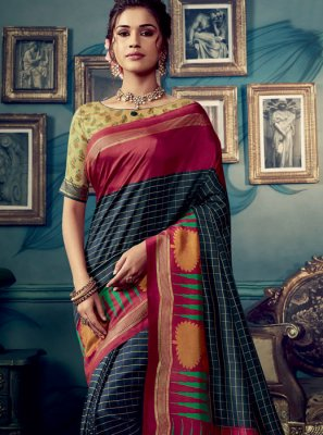 Multi Colour Weaving Cotton Silk Designer Traditional Saree