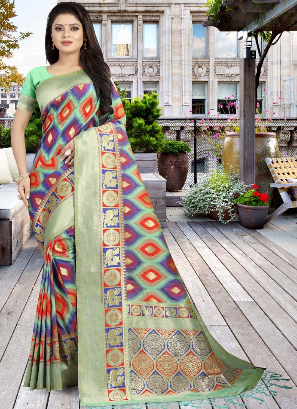 Multi Colour Wedding Art Silk Designer Traditional Saree