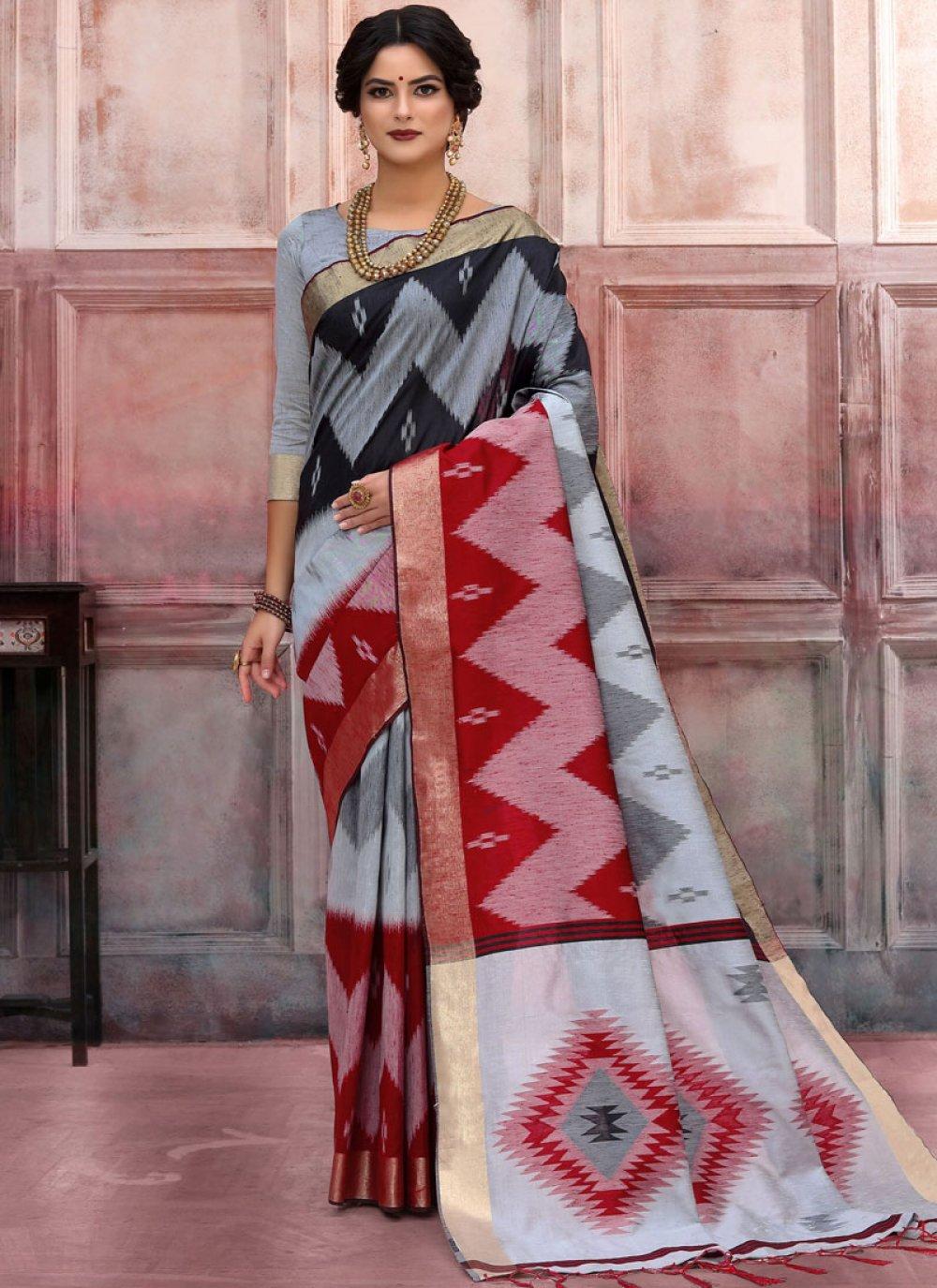 Multi Colour Woven Art Silk Designer Traditional Saree