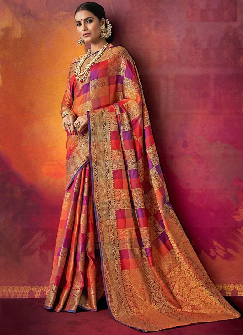 Multi Colour Woven Designer Traditional Saree