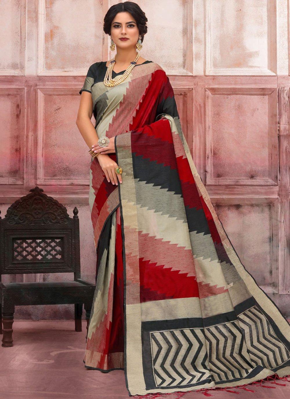 Multi Colour Woven Festival Traditional Saree