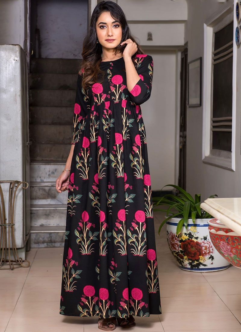 Muslin Black Abstract Print Party Wear Kurti