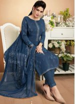 Muslin Blue Embroidered Designer Palazzo Suit