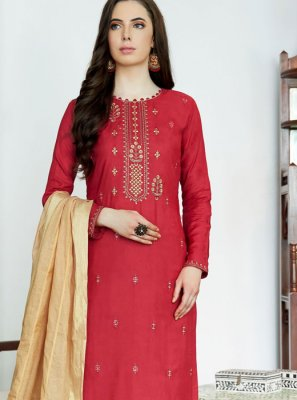 Muslin Designer Palazzo Suit in Red