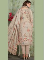 Muslin Embroidered Beige Pant Style Suit
