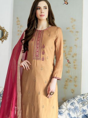 Muslin Embroidered Designer Palazzo Suit