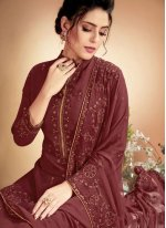 Muslin Embroidered Designer Palazzo Suit in Brown