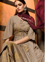 Muslin Embroidered Grey Designer Salwar Suit