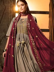Muslin Embroidered Grey Designer Salwar Suit