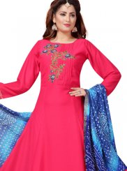 Muslin Embroidered Hot Pink Readymade Suit