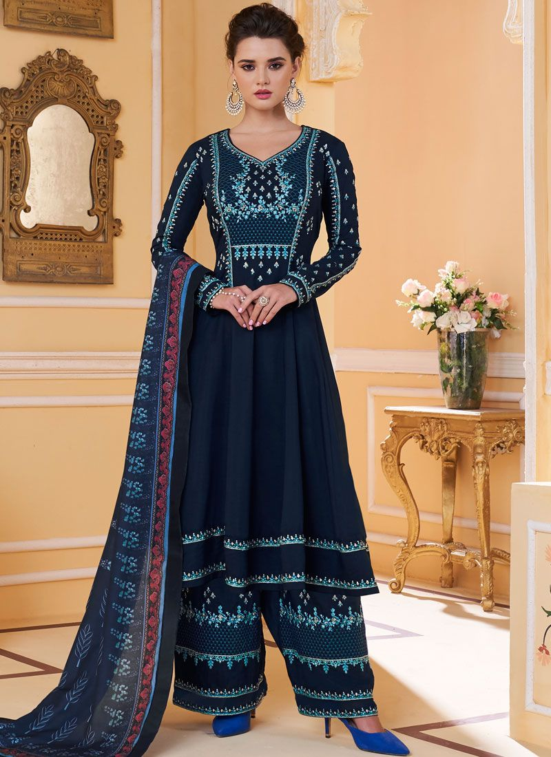 Muslin Embroidered Navy Blue Readymade Suit
