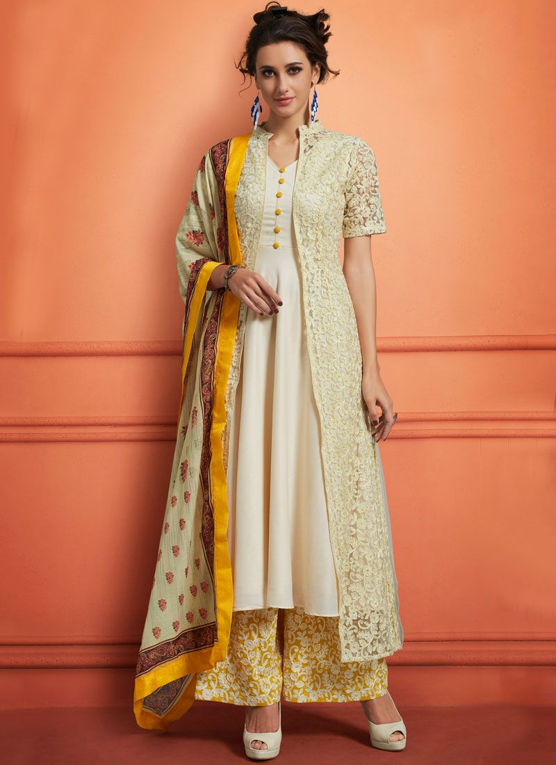Muslin Embroidered Off White Palazzo Designer Salwar Suit