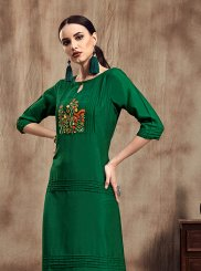 Muslin Embroidered Party Wear Kurti in Green
