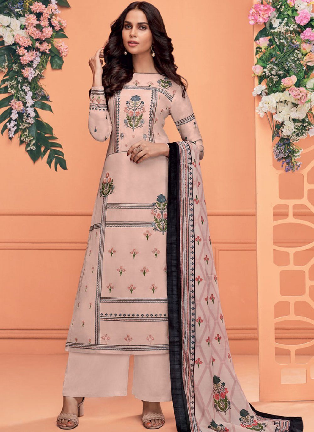 Muslin Embroidered Readymade Suit