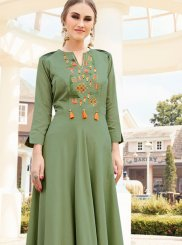Muslin Green Party Wear Kurti